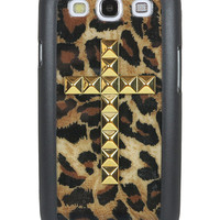 Cheetah Gold Studded Cross Samsung Galaxy S3 Case