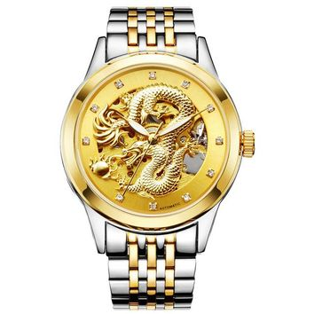 Luxury Automatic Mechanical Wristwatches Dragon Genuine Leather Stainless Steel