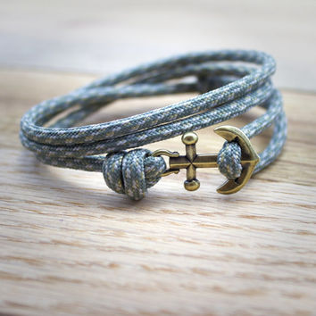 Anchor Paracord Nautical Bracelet in Gray