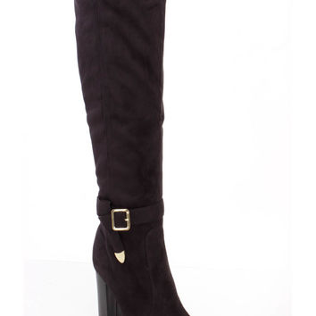 Black Chunky High Heel Boots Faux Suede