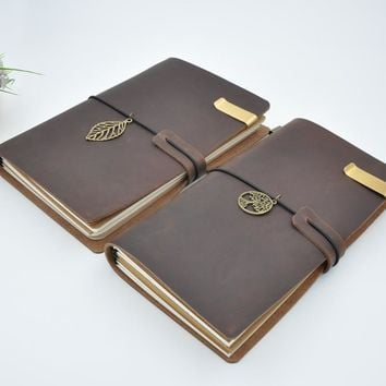 Maotu Vintage Genuine Leather Notebook Diary Travel Journal Planner Sketchbook Agenda DIY Refill Paper School Birthday Gift