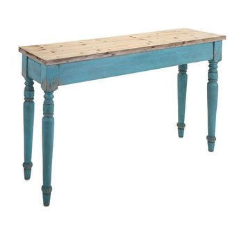 Athletic Claremore Wooden Console Table, Brown and Blue  - Benzara