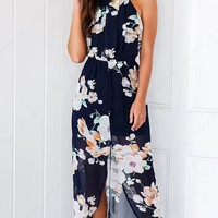 Vintage Floral Print Halter Backless Split Maxi Dress