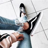 """""""Vans"""" With Warm Casual Shoes Men and women classic black cloth shoes Black"""