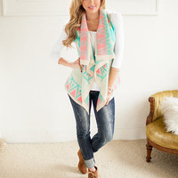 Geometric Beauty Vest in Coral and Mint