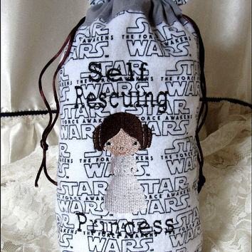 Star Wars inspired Drawstring Bag~Gift Bag~Travel bag~Crafting~Toys~Cookies~Embroidered