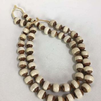 Elegant simple double-stranded wood & bone beaded necklace from Africa