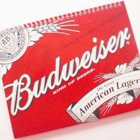 BEER notebook journal Budweiser The GREAT AMERICAN Lager  spiral binding Recycled and Earth Friendly A Gift For that Hard to Buy for Man