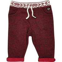 River Island Mini boys dark red jogger bottoms