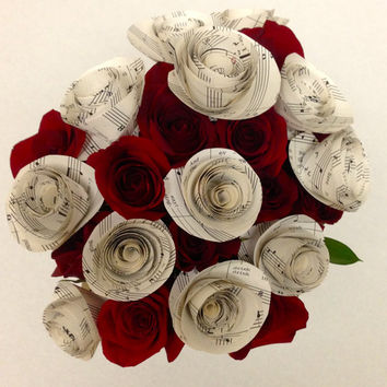 Sheet Music Paper Flowers with Stems / Paper Roses / One Dozen / Music Notes /