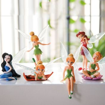 6pcs/Set Christmas Kids Gift Tinkerbell Dolls Flying Flower Fairy Children Animation Cartoon Toys Girls Dolls Baby Toy WJ436