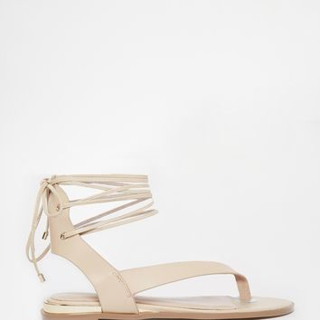 ALDO Kendell Nude Leather Gladiatior Flat Sandals
