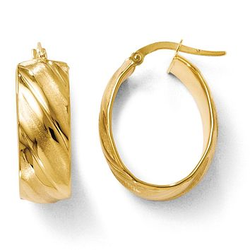 8mm Polished & Satin Oval Hoop Earrings in 14k Yellow Gold, 24mm