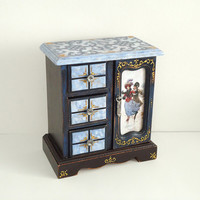 Hand Decorated Shabby Сhic Victorian Antique Style Jewelry Trinkets Box Distressed Blue Brown Decoupage