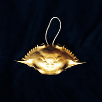Blue Crab Christmas Ornaments a Hand Painted in Metallic Gold