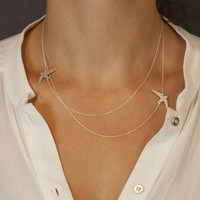 PRE-Order: Gold or Silver Layered Necklace with Bird Silhouettes  //  Silver or Gold Bird Necklace  //  FLIGHT PATH Necklace
