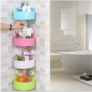 Lovely Bathroom accessories shelves plastic Corner Storage Rack Organizer Shower Wall Shelf Suction Cup hot toilet racks