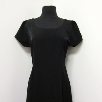 1980s Black Swing Style Maxi Dress w Cap Sleeves & Circle Skirt - 50s Rockabilly Look