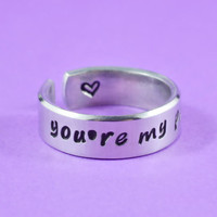 you're my person - Hand Stamped Aluminum Cuff Ring, Grey's Anatomy Inspired, Love And Friendship Ring,  Best Friends Gift