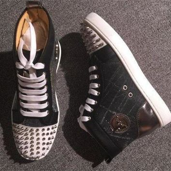 DCCK Cl Christian Louboutin Lou Spikes Style #2213 Sneakers Fashion Shoes