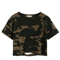 Camo Print Distressed Crop T-shirt