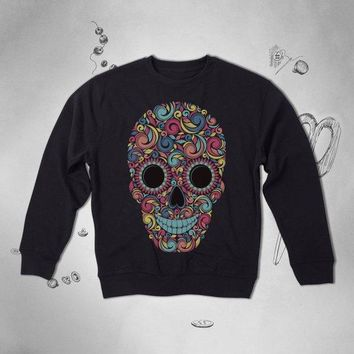 Mexican Day of the dead Ornament Colorful skull Print Sweatshirt Top Sweater Pullover