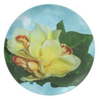 Orchid Design in Melamine Plate