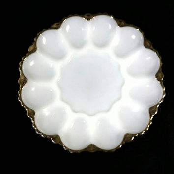 Vintage Fire King Anchor Hocking Deviled Egg Tray/White Milk Glass Egg Platter/Gold White Party Plate/Wedding Appetizer Decor/Shabby Chic