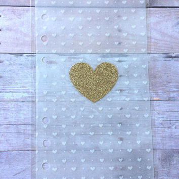 Transparent Heart Dashboard- (Perfect for Kikki k, filofax, websters pages, kate spade planners)