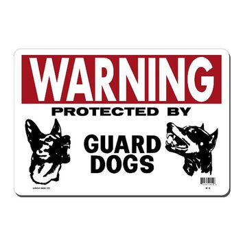 Warning Guard Dogs Metal Sign Wall Decor 20*30 CM