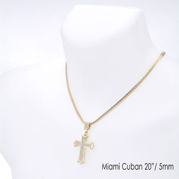 """Jewelry Kay style Men's Fashion Iced Cross Pendant 20"""" / 24"""" Miami Cuban Chain Necklace MCP 1040 G"""