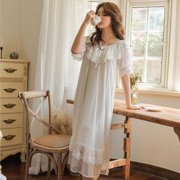 Sweet Summer Cotton Women White Lace Long Nightgowns Pink Short Sleeve Retro Loose Sleepwear Home Wear