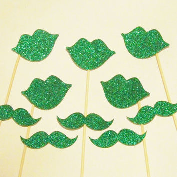 Glitter Photo Booth Props 5 Green Glitter Lips & 5 Mustaches on a Stick St Patricks Wedding Photo Booth Christmas Photo Booth Props