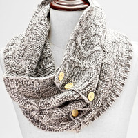 Knitted Button Infinity Scarf Light Gray