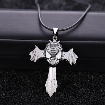 Spiderman Cross Metal Alloy Necklace