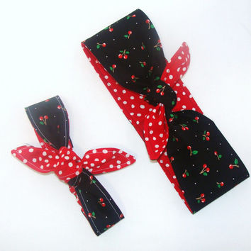 Mommy and Me Rockabilly Head Scarfs Cherries on Black with Red and White Polka Dot on Reverse Side Women Baby Headband Hair Accessory
