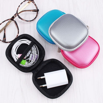 NganSek Cute Candy Colorful Square Storage Bag For Earphone Headphone Earbuds SD Card USB Cable and Charger