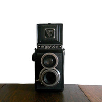 Vintage Camera Argus ArgoFlex TLR Twin Lens Reflex Camera 1930s First Model E - Original Leather Case with Strap