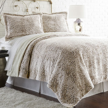 Faux fur/Sherpa 3 Piece Comforter Set Chocolate Full/Queen