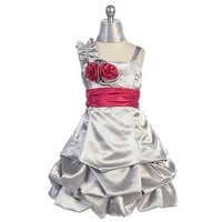 Chic Baby Silver Satin Rosette Ruffle Occasion Dress Little Girls 4-16