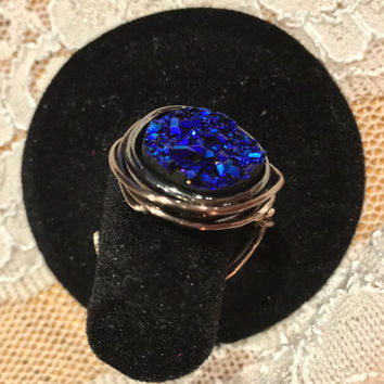 FREE SHIPPING Blue druzy wire wrapped natural stone crystal ring
