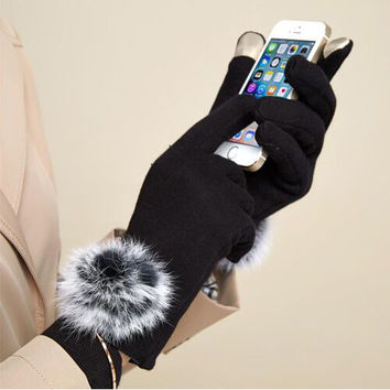 Flannelette Solid Color Touchscreen Gloves