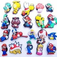 Set of 20 Nintendo Super Mario Brothers Shoe Charms, Shoe Snap on Decorations, Charms, Buttons, Widgets, for Clogs, Crocs, Bracelets and More Featuring Princess Peach, Yoshi, Toad, Luigi, Goomba, Koopa and More