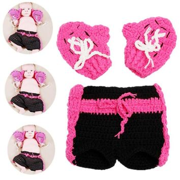 3D 0-6 Months Infants Newborn Cospaly Rose And Black Knitted Shorts Baby Suit Boxing Champion Crochet Gloves