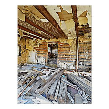 decrepit Run Down Mining Cabin Abstract Art Poster