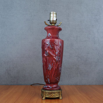 Antique Bird Vase Lamp / Art Nouveau Porcelain Table Lamp with Brass Pedestal / Berry Red and Dusty Blue
