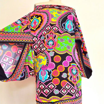 Psychedelic Paisley Designer Trina Turk Tunic, Mini-Dress