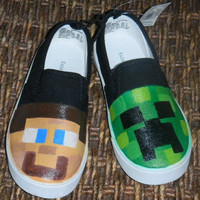 OOAK Hand Painted Slip On Shoes MINECRAFT Adult & Youth Sizes Available