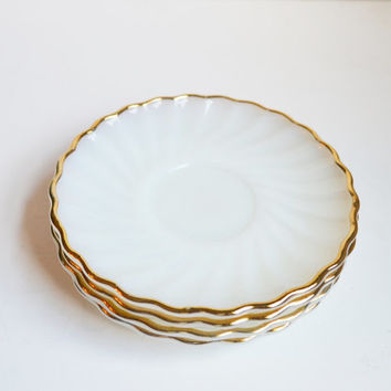 Vintage White and Gold Saucers Plates Fire King Milk Glass Saucers white Anchor Hocking Saucers with Gold Trim Set of 4