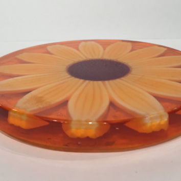 Vintage Lucite Trivet, Pot Holder, Kitchen Decor, Sunflower Trivet